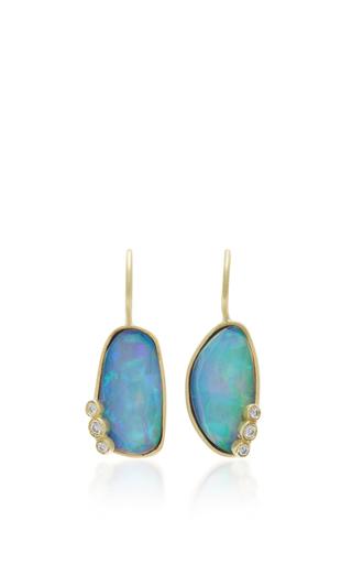 Medium zaiken jewelry blue 18k yellow gold one of a kind opal earrings