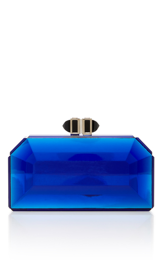Medium judith leiber blue judith leiber couture blue facted clutch