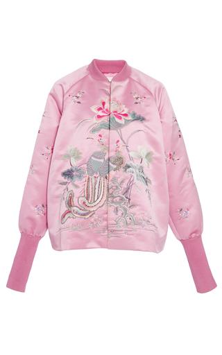 Medium ms min pink embroidered satin bomber jacket
