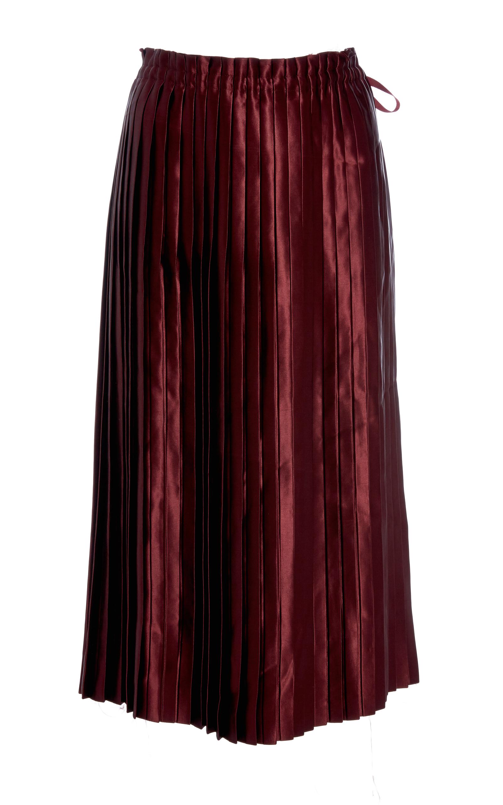 f22b56ec7d Satin Pleated Midi Skirt by Ms Min   Moda Operandi