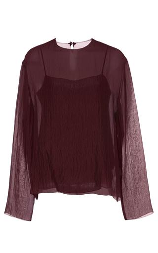 Medium ms min burgundy long sleeve silk chiffon top