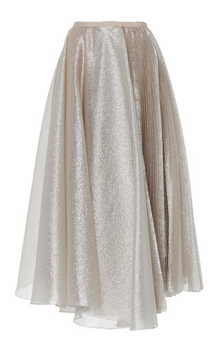 Medium dice kayek silver pleated tea length skirt 3