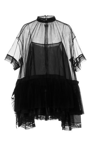 Medium dice kayek black sheer lace detail blouse