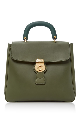 Medium burberry green the portrait leather tote