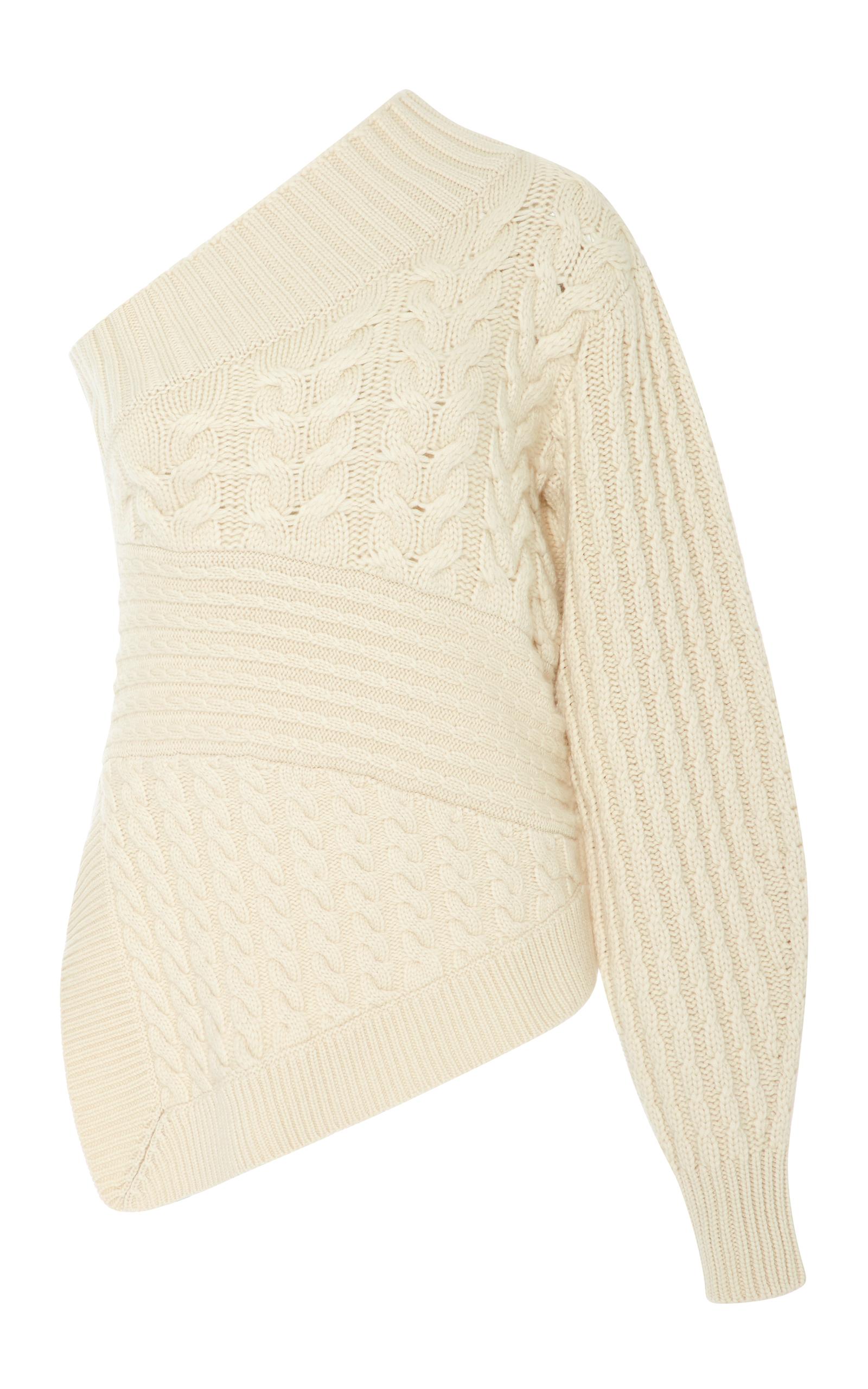 f16694b194579e One-Shoulder Cable-Knit Cashmere Sweater by Burberry   Moda Operandi