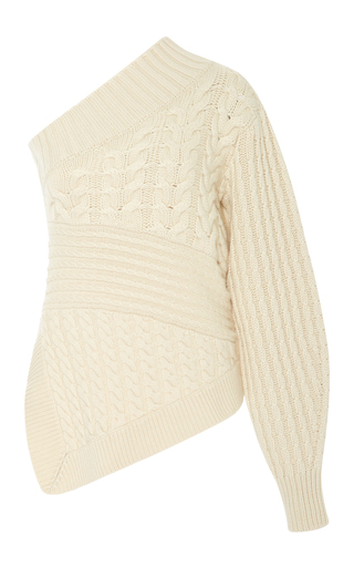 Medium burberry white one shoulder cable knit cashmere sweater