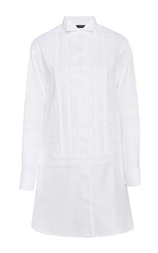 Medium burberry white pintucked macrame lace paneled cotton shirt dress