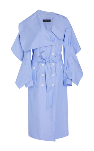 Medium burberry blue cotton chambray draped dress