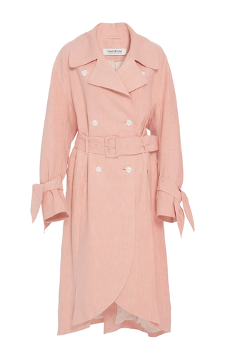 Medium kimhekim pink scalloped hem linen trench coat