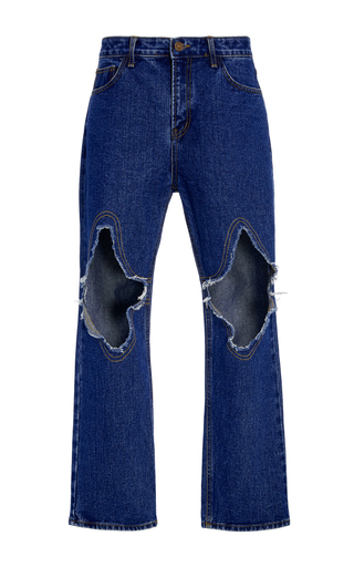 Medium kimhekim blue cropped distressed jeans