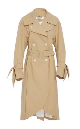 Medium kimhekim neutral scalloped hem trench coat