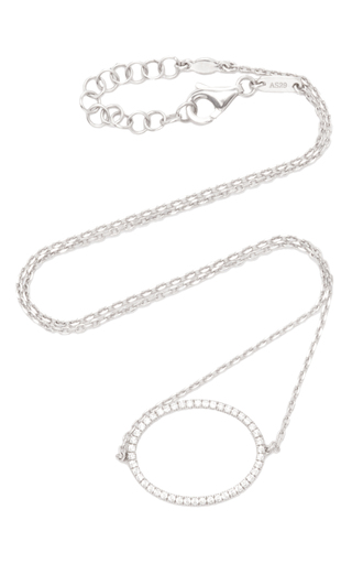Medium as29 silver la collection oval diamond single chain choker in white gold