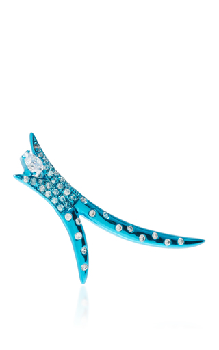 Medium as29 blue spike long earring with pear diamond in turquoise
