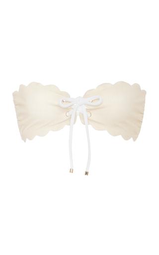 Medium marysia swim metallic antibes scalloped strapless bikini top