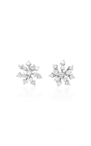 Medium hueb silver 18k white gold luminous earrings