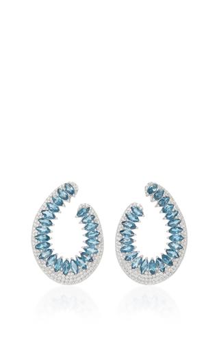 Medium hueb silver 18k white gold and topaz mirage earrings
