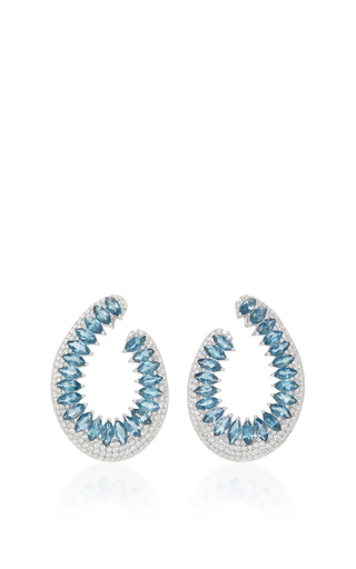 Medium hueb silver 18k white gold and topaz mirage earrings