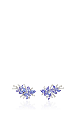 Medium hueb silver 18k white gold and tanzanite mirage earrings