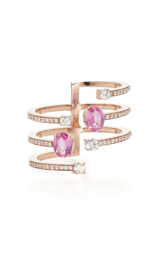 Medium hueb gold 18k rose gold spectrum ring