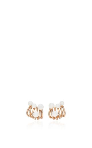 Medium hueb gold hueb 18k rose gold and pearl spectrum earrings