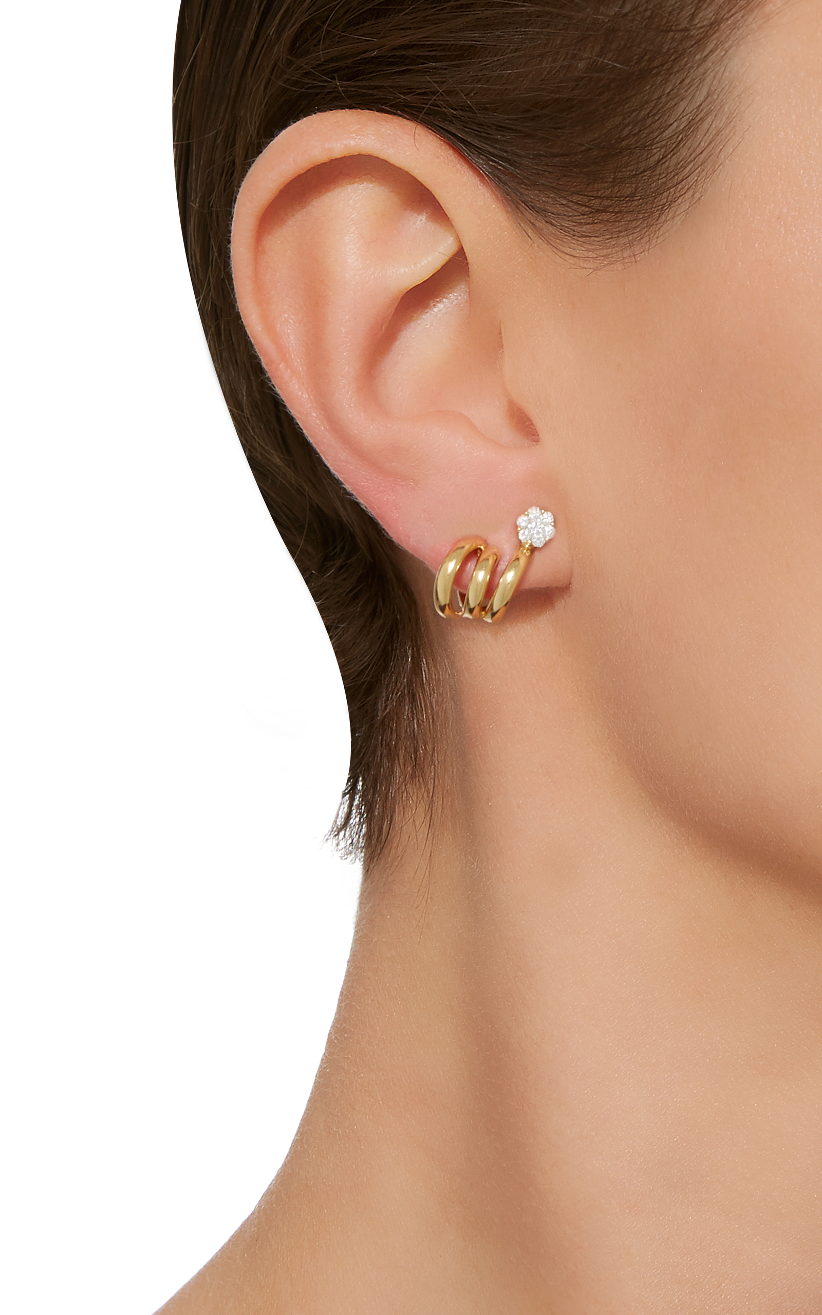 flower back earring pin feminine large earrings and