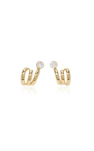 Medium hueb gold 18k yellow gold diamond flower earrings