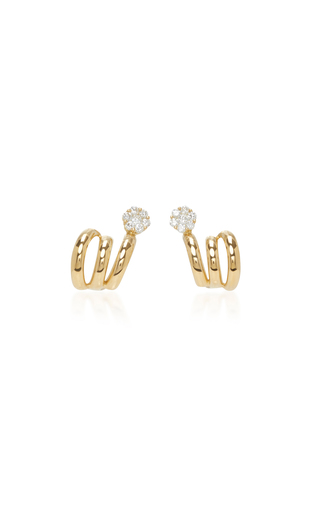 Medium hueb gold 18k yellow gold diamond flower earrings