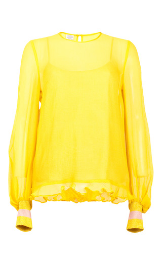 Medium baum und pferdgarten yellow mitzi balloon sleeve blouse