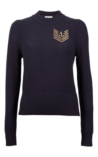 Medium baum und pferdgarten navy caitrin nautical knit sweater