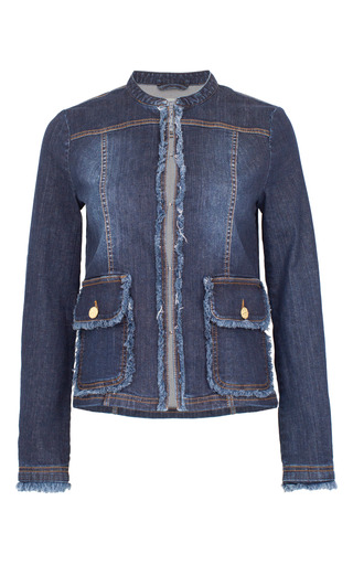 Medium baum und pferdgarten blue blanche collarless denim jacket