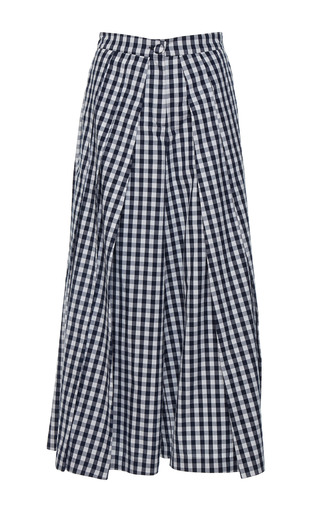 Medium rahul mishra navy gingham pleated palazzo pant