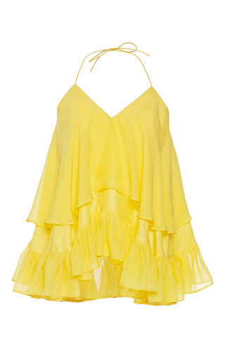 Medium rahul mishra yellow silk habotai ruffled top