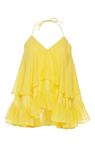 Medium rahul mishra yellow silk habotai ruffled top