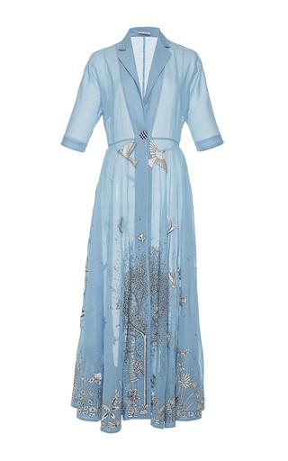 Medium rahul mishra blue hand embroidered trench dress