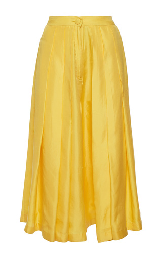 Medium rahul mishra yellow silk twill culottes pants