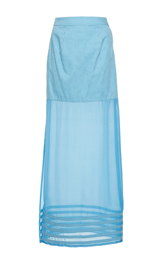 Medium rahul mishra blue gingham long sheer skirt