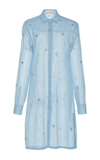 Medium rahul mishra blue hand embroidered long shirt 2
