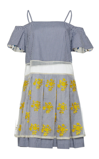Medium rahul mishra blue hand embroidered pleated bardot dress