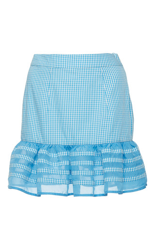 Medium rahul mishra blue ruffled gingham mini skirt