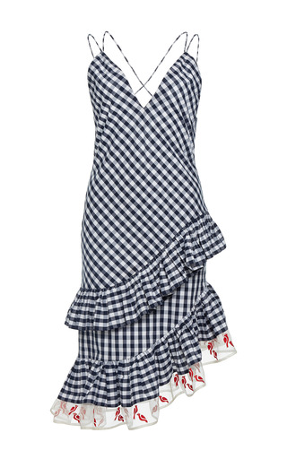 Medium rahul mishra print gingham asymmetric ruffled dress