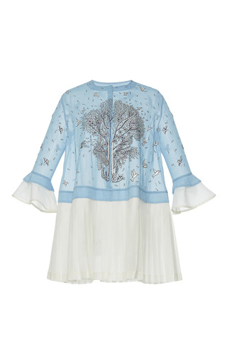 Medium rahul mishra blue hand embroidered pleated tunic