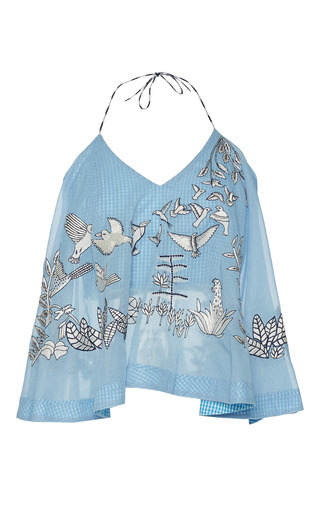 Medium rahul mishra blue hand embroidered top