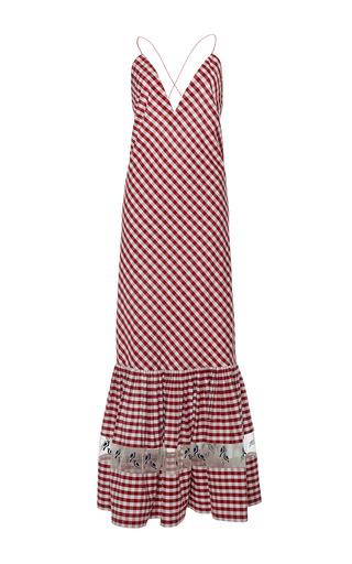 Medium rahul mishra red gingham ruffled maxi dress