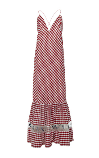 Medium rahul mishra red gingham ruffled maxi dress