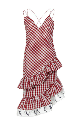Medium rahul mishra red gingham asymmetric ruffled dress 1