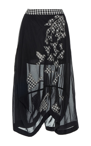 Medium rahul mishra black applique birds shroud skirt