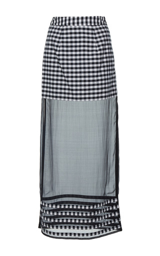 Medium rahul mishra black gingham sheer skirt