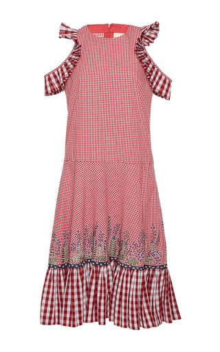 Medium rahul mishra red barley gathered dress
