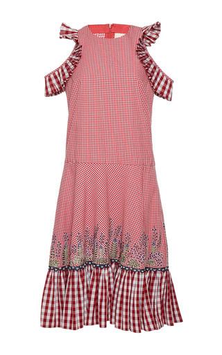 Medium rahul mishra red barley gathered dress