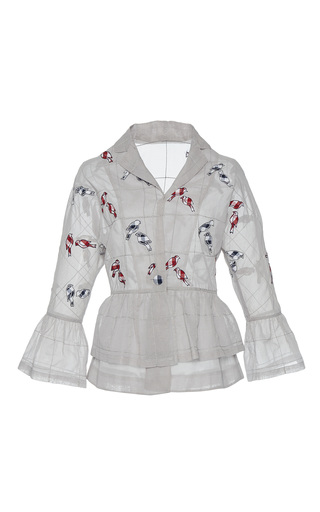 Medium rahul mishra white hand embroidered bird kimono jacket